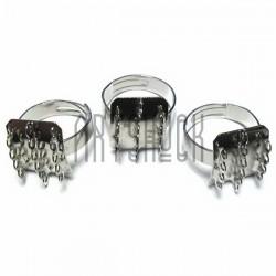 Набор заготовок (основ) для колец, регулируемых, на 14 петель, 3 штуки, REGINA