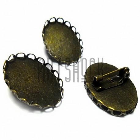 """Набор металлических основ для камеи (кабошона, броши) с сеттингом, """"античная латунь"""", 1.8 х 2.5 см., 3 штуки, REGINA"""