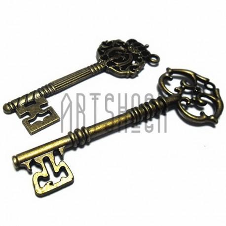 """Набор металлических подвесок винтажных """"Ключи"""", """"античная латунь"""" для скрапбукинга, 7 - 8 см., 2 штуки, REGINA"""