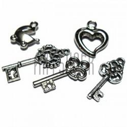 """Набор подвесок """"Ключи и элементы"""" серебристых для скрапбукинга, 1.2 - 2.6 см., 5 штук, REGINA"""