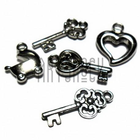 """Набор подвесок """"Ключи и элементы"""" серебристых для скрапбукинга, 1.2 - 2.8 см., 5 штук, REGINA"""