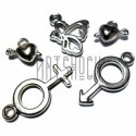 Набор подвесок серебристых для скрапбукинга, 2 - 3 см., 5 штук, REGINA
