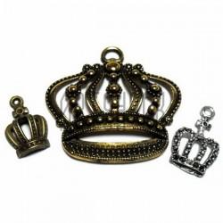 """Набор металлических подвесок """"Короны"""", """"античная латунь и серебро"""" для скрапбукинга, 2.1 - 4.5 см., 3 штуки, REGINA"""