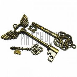 """Набор металлических подвесок винтажных """"Ключи"""", """"античная латунь"""" для скрапбукинга, 3.4 - 6 см., 3 штуки, REGINA"""