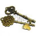 """Набор металлических подвесок винтажных """"Ключи"""", """"античная латунь"""" для скрапбукинга, 7.2 - 8.3 см., 2 штуки, REGINA"""