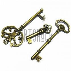 """Набор металлических подвесок винтажных """"Ключи"""", """"античная латунь"""" для скрапбукинга, 3.5 - 6.3 см., 3 штуки, REGINA"""