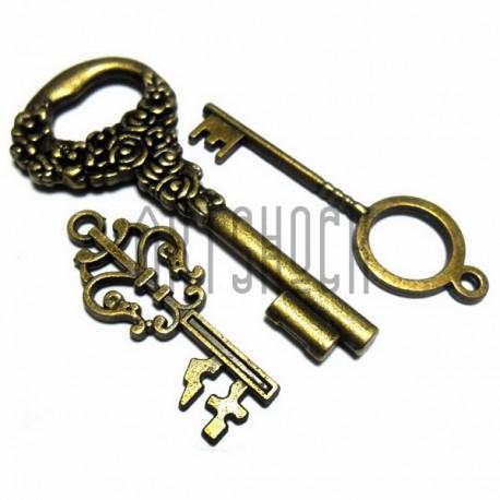 """Набор металлических подвесок винтажных """"Ключи"""", """"античная латунь"""" для скрапбукинга, 3.6 - 6 см., 3 штуки, REGINA"""