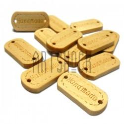 """Набор деревянных декоративных бирок (нашивок, лейбл) """"Hand Made"""", 2.4 x 1.2 см., 12 штук, REGINA"""