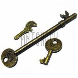 """Набор металлических подвесок винтажных """"Ключи"""", """"античная латунь"""" для скрапбукинга, 3.5 - 9.5 см., 3 штуки, REGINA"""