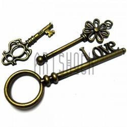 """Набор металлических подвесок винтажных """"Ключи"""", """"античная латунь"""" для скрапбукинга, 4.5 - 8 см., 3 штуки, REGINA"""