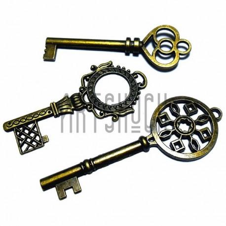 """Набор металлических подвесок винтажных """"Ключи"""", """"античная латунь"""" для скрапбукинга, 5.5 - 7 см., 3 штуки, REGINA"""