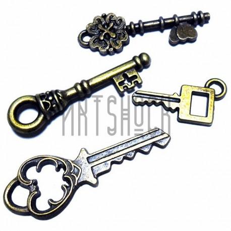 """Набор металлических подвесок винтажных """"Ключи"""", """"античная латунь"""" для скрапбукинга, 2 - 4 см., 4 штуки, REGINA"""