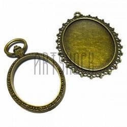 """Набор металлических подвесок, основ для камеи (кабошона) с сеттингом, """"античная латунь"""", 5.2 х 5.4 см., 2 штуки, REGINA"""