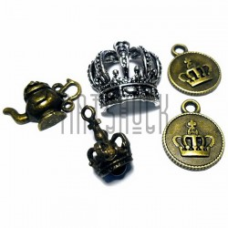"""Набор металлических подвесок, """"Предметы и короны"""", """"латунь и серебро"""" для скрапбукинга, 1.6 - 2.5 см., 5 штук, REGINA"""
