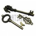 """Набор металлических подвесок винтажных """"Ключи"""", """"античная латунь"""" для скрапбукинга, 3.5 - 7.5 см., 3 штуки, REGINA"""