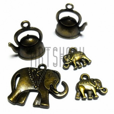 """Набор металлических подвесок """"Слоны и чайники"""", """"античная латунь"""" для скрапбукинга, 5 штук, REGINA"""