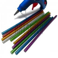 Термоклей ( клеевые палочки )  для термопистолета, цветные с глиттером, (80 гр., Ø7 x 200 мм.), 10 штук