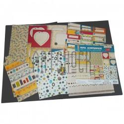 """Набор бумаги для скрапбукинга """"Hand Made"""", 6 дизайнов по 2 листа, 12 листов, 30.5 х 30.5 см., 160 гр/м²., J & E"""