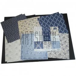 """Набор бумаги для скрапбукинга """"Mono Paper Collection"""", 6 дизайнов по 2 листа, 12 листов, 15.2 х 15.2 см., 160 гр/м²., J & E"""