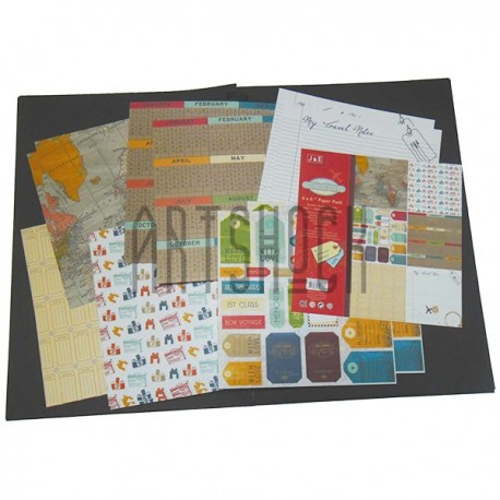 "Набор бумаги для скрапбукинга ""My Travel"", 6 дизайнов по 2 листа, 12 листов, 30.5 х 30.5 см., 160 гр/м²., J & E"