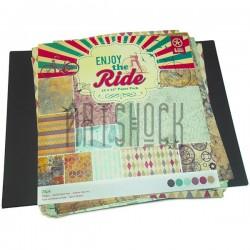 """Набор бумаги для скрапбукинга """"Enjoy The Ride"""", 12 дизайнов по 2 листа, 24 листа, 30.5 х 30.5 см., 160 гр/м²"""