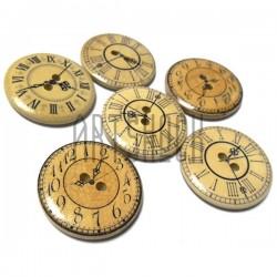 """Набор деревянных декоративных пуговиц с рисунком """"Часы"""", Ø3 см., 6 штук, REGINA"""