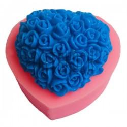 Силиконовый молд 3D (вайнер), сердце в цветах, размер: 7 x 6.5 см., толщина 3 см., REGINA