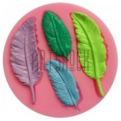 Силиконовый молд 3D (вайнер), красивые перья, размер: Ø9 см., толщина 0.9 см., REGINA