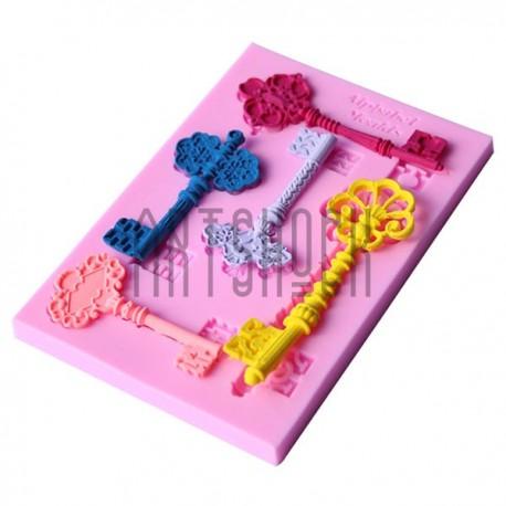 Силиконовый молд 3D (вайнер), винтажные ключи, размер: 12.5 x 8.5 см., толщина 0.8 см., REGINA