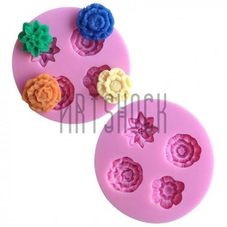 Силиконовый молд 3D (вайнер), 4 цветка, размер: Ø7.8 см., толщина 1.3 см., REGINA