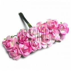 Набор декоративных диких розочек из ткани на проволоке, розового цвета, Ø7 мм., 12 штук, REGINA