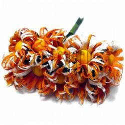 Набор декоративных ромашек из ткани на проволоке, бело - оранжевые, Ø20 мм., 10 штук, REGINA