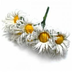 Набор декоративных ромашек из ткани на проволоке,белые, Ø20 мм., 10 штук, REGINA