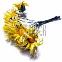 Набор декоративных ромашек из ткани на проволоке, бело - желтые, Ø20 мм., 10 штук, REGINA