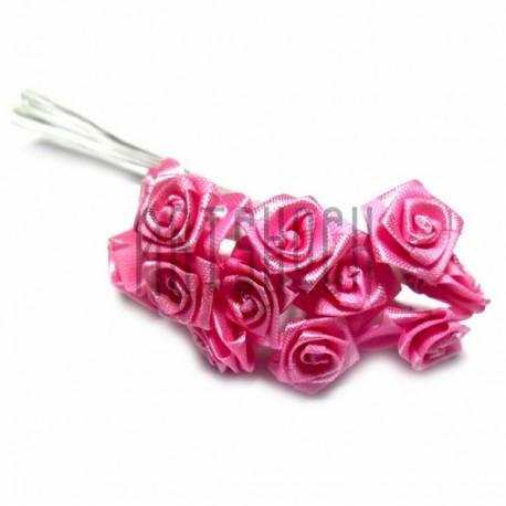 Набор декоративных розочек атласных на проволоке, розового цвета, Ø15 мм., 12 штук, REGINA