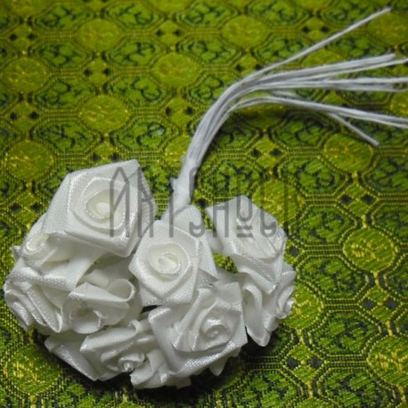 Набор декоративных розочек атласных на проволоке, белого цвета, Ø15 мм., 12 штук, REGINA