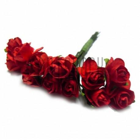 Набор декоративных диких розочек из ткани на проволоке, красного цвета, Ø7 мм., 12 штук, REGINA