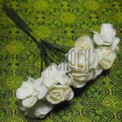 Набор декоративных диких розочек из ткани на проволоке, белого цвета, Ø7 мм., 12 штук, REGINA