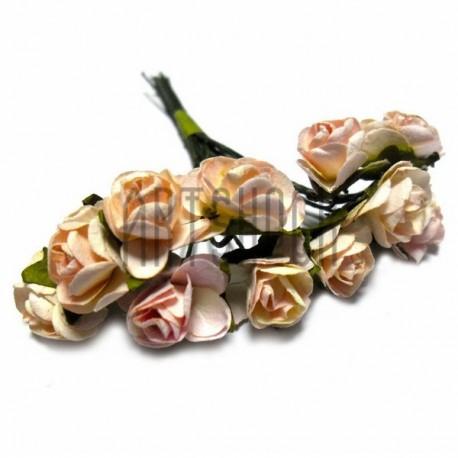 Набор декоративных диких розочек из ткани на проволоке, светло - розового цвета, Ø7 мм., 12 штук, REGINA