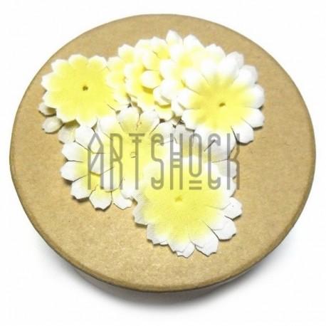 """Набор лепестков """"Ромашки"""" из ткани, цветочки без серединки, желто - розовые, Ø27 мм., 30 штук, REGINA"""