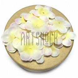 """Набор лепестков """"Роза"""" из ткани, цветочки без серединки, желто - розовые, Ø27 мм., 30 штук, REGINA"""