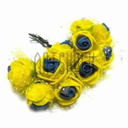 Набор декоративных розочек с фатином на проволоке, желто - синего цвета, Ø25 мм., 10 штук, REGINA