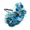 Набор декоративных розочек из латекса с голубым фатином на проволоке, бело - голубого цвета, Ø20 - 25 мм., 10 штук, REGINA