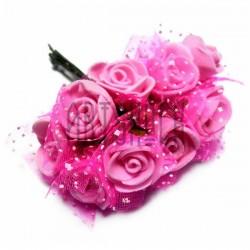 Набор декоративных розочек из латекса с розовым фатином на проволоке, розового цвета, Ø20 - 25 мм., 10 штук, REGINA