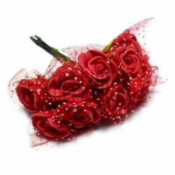Набор декоративных розочек из латекса с красным фатином на проволоке, красного цвета, Ø20 - 25 мм., 10 штук, REGINA