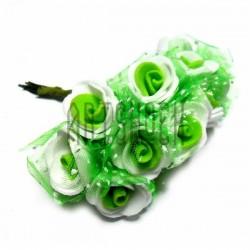 Набор декоративных розочек из латекса с зеленым фатином на проволоке, бело - зеленого цвета, Ø20 - 25 мм., 10 штук, REGINA