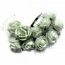 Набор декоративных розочек из латекса с белым фатином на проволоке, мятного цвета, Ø20 - 25 мм., 10 штук, REGINA