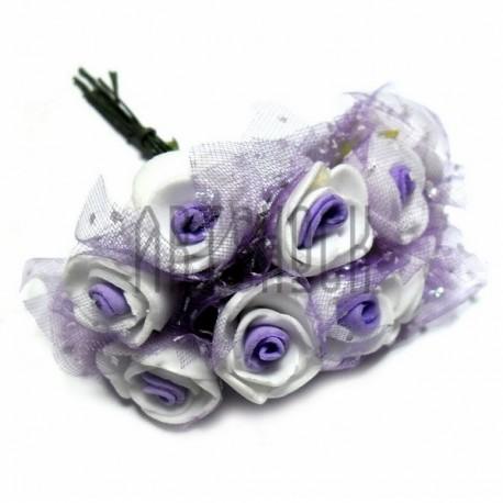 Набор декоративных розочек из латекса с сиреневым фатином на проволоке, бело - сиреневого цвета, Ø20 - 25 мм., 10 штук, REGINA