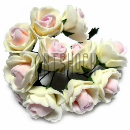 Набор декоративных розочек из фоамирана на проволоке, бело - розового цвета, Ø20 - 25 мм., 12 штук, REGINA