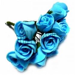 Набор декоративных розочек из фоамирана на проволоке, голубого цвета, Ø20 - 25 мм., 12 штук, REGINA